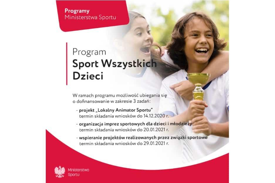 """Wystartowała kolejna edycja Programu """"Sport Wszystkich Dzieci"""" na 2021 rok"""